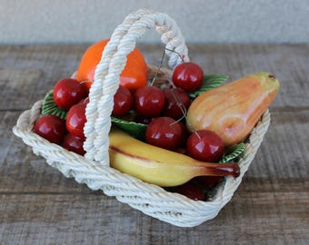 Vintage Lanzarin Hand Painted Italian Porcelain Fruit Basket Hand Made in Italy