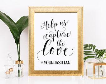 Wedding hashtag sign, Help us capture the love, Custom hashtag signs, Hashtag wedding sign, hash tag, Simple wedding sign, Social media sign
