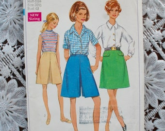 Unused 1960's A Line SKIRT, Shorts, Culottes, Shirt Vintage Sewing Pattern UK 18  Plus size