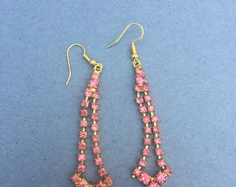 Sparkly Pink diamonte vintage style earrings, fish hook wires, 1950's style diamonte dangle jewellery