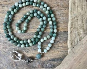 I am Protection - Green Jade 108 Bead Mala Necklace/ Meditation Beads/ Japa mala/Knotted Boho Necklace/Yoga Beads/ Meditation Gifts