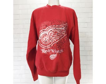 Vintage 90s Detroit Red Wings NHL Nutmeg Sweatshirt EUC