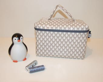 Toiletry bag, vanity cotton coated drops, grey and blue