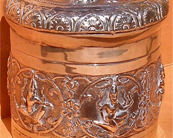19th Century Burmese Solid Silver Marked Embossed with Deities Lidded Betel Nut or Trinket Pot