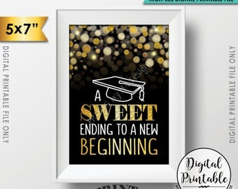 """A Sweet Ending to a New Beginning Graduation Sign, Graduation Party Sweet Treats, Black & Gold Glitter Printable 5x7"""" Instant Download"""