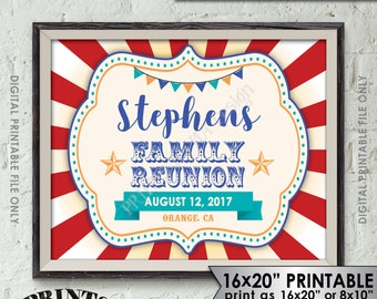"Family Reunion Sign, Family Sign, Family Reunion Banner, Family Carnival Sign, Reunion Circus Sign, 8x10/16x20"" Printable Sign"
