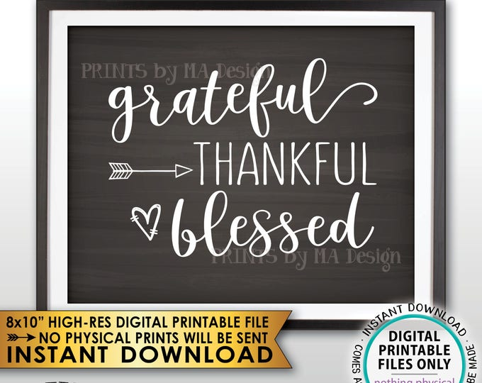 """Grateful Thankful Blessed Sign, Thanksgiving Wall Decor, Fall Decor Blessing Autumn Decor, Chalkboard Style PRINTABLE 8x10"""" Instant Download"""