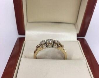 Vintage 9ct Yellow Gold 3 Stone Diamond Eternity Ring Size P