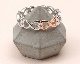 Sterling Silver And Rose Gold Infinity Heart Ring
