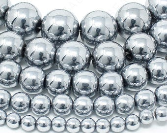 "Silver Hematite Beads Natural Gemstone Round Loose - 4mm 6mm 8mm 10mm 12mm - 15.5"" Strand"