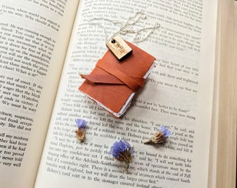 Book Necklace, Book Pendant, Literary Jewelry, Leather Book Necklace, Mini Journal, Miniature Book, Personalized Jewelry, Gifts for Her