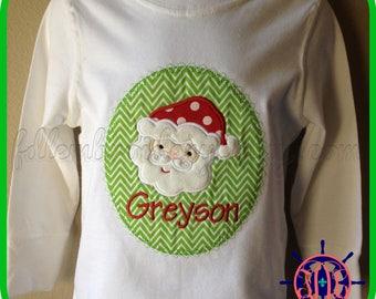 Santa Applique Shirt, Christmas Applique Shirt, Boy's Christmas Applique Shirt