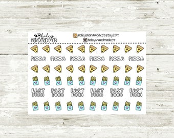 Pizza and Fries Stickers (hand drawn)