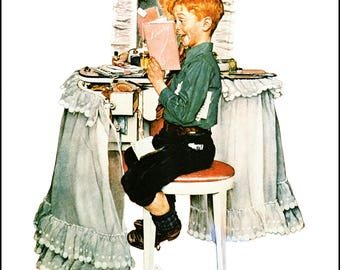 """Secrets and USO Volunteers paint by Norman Rockwell for Post covers 1942. The page is approx. 11.5"""" wide and 15"""" tall."""
