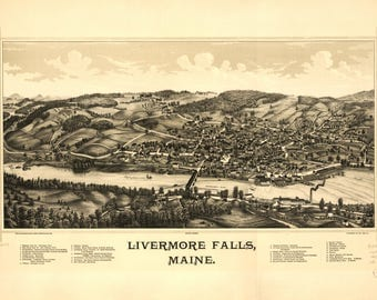 Livermore ME Panoramic Map dated 1878. This print is a wonderful wall decoration for Den, Office, Man Cave or any wall.
