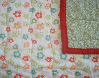 Toddler Floral Quilt in Muted Tones