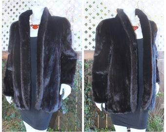 Phenomenal SAGA MINK Genuine Black-Brown Mink Fur Jacket Coat MINT Condition Size M / S+
