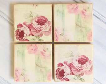 Decoupage antique roses design pine coasters - Gift for her - Custom coasters sets - Coasters holder - Farmhouse decor - Ready to ship