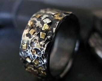 Mosaic Gold Ring Mens Ring Mens Wedding Band Rustic Mens Wedding Bands Rustic Mens Wedding Ring 18K Green Gold 18K Yellow Gold 14K Rose Gold