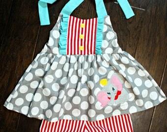 Girls Ruffle Dumbo Tie Back Dress- Elephant Tunic Top- Bloomers- Toddler Dress- Flying Elephant- Dumbo dress- 12m, 18m, 2t, 3t, 4t, 5t, 6
