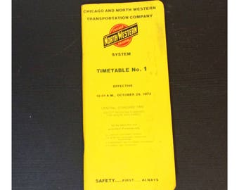 Vintage Northwestern Transportation Company 1972 Timetable Transit Schedule NW and Chicago
