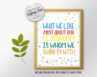 What We Like Most About Our Classroom Is Whom We Share It With, Teacher Gift, Classroom Decor, Polka Dots, Instant Download, Digital Files