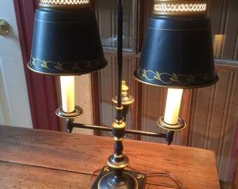 Vintage Toleware black and gold double student desk lamp