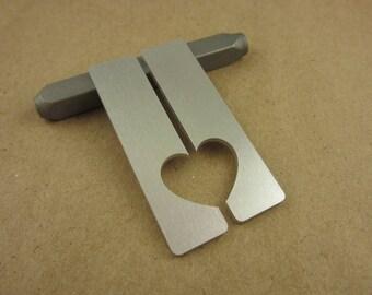 "1/2"" x 2"" Half Heart Aluminum Stamping Tags, 14 Ga Thick, 1100 Aluminum, 5 Sets"
