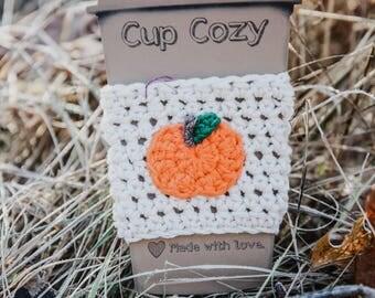 Crochet coffee sleeve - pumpkin coffee sleeve - crochet pumpkin coffee sleeve - reusable coffee sleeve