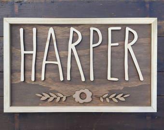 Custom Name Sign | Nursery Decor | Unframed or Framed Sign | Girl's Room Decor | Wood Cut Sign | Name Cut Out | Design with Flowers