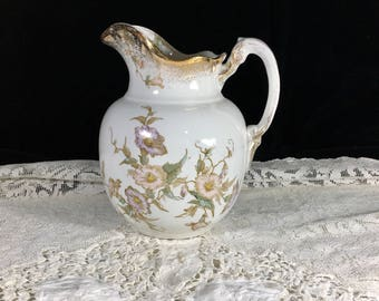 Maddock's Works Pitcher, Lamberton, Transfer Ware Pitcher, Antique Floral Pitcher, Porcelain Pitcher
