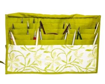 Needle case, circular needle case, KnitPro fixed circular needle case, Greenery.