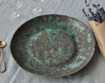 "New Large Grey and Green ""Paper Plate"""