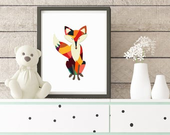 Geometrical Fox Print, Woodland Print, Fox Print, Woodland Wall Art, Woodland Print, Boys Fox Print, Boys Wall Art, Boys Nursery Wall Art