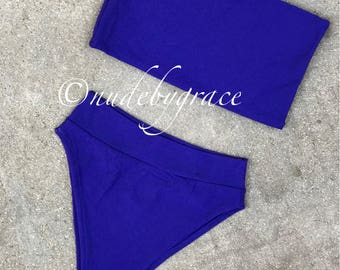 High cut bandeau bikini set, bikini, sexy bikini, beachwear, swimwear, bandeau top, festival bikini, high waisted brazilian bottom
