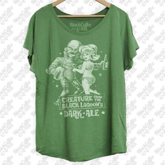 Green Shirt - Creature from the Black Lagoon Shirt - Old Horror Film Shirt -Black Lagoon Dark Ale St Patricks Day Shirt -Green Womens Dolman