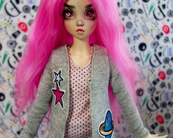 Cardigan with patces for minifee msd bjd dolls