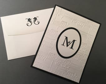 Monogram MUSIC THEME NOTE Cards or Thank You Cards - Embossed - Handmade - (10)