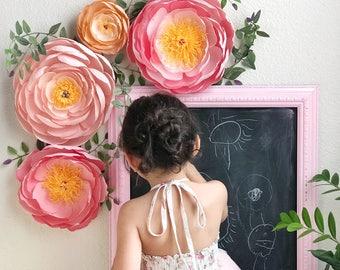 Coral Charm Peonies-Crepe Paper Peonies-Paper Flowers-Nursery Wall Decor-Paper Flower Wall Decor-Giant Paper Flowers-Boho Nursery Decor