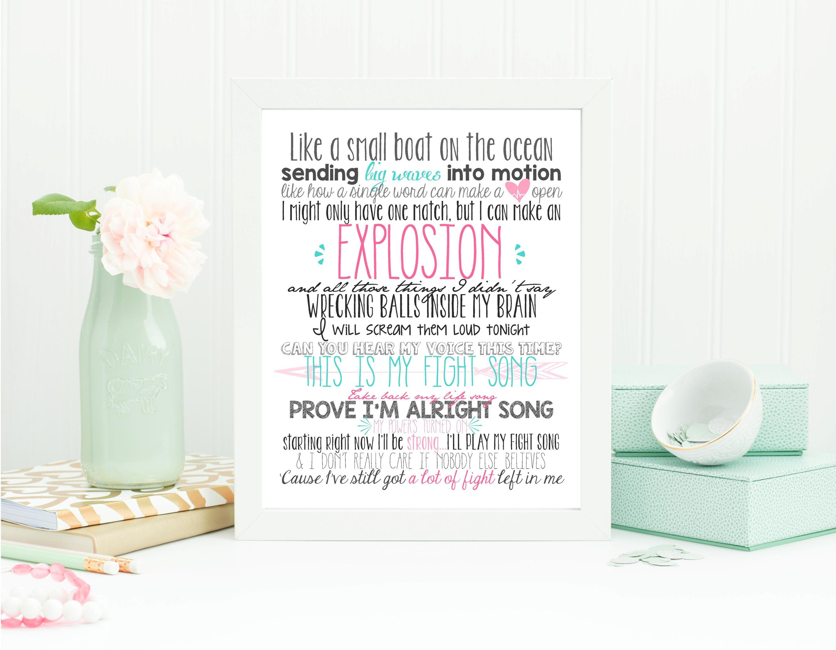 Fight Song Rachel Platten Lyrics Print Inspirational Quote