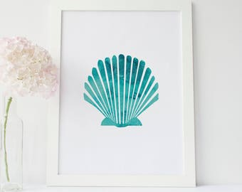 Shell Art Print, Digital Art Print, Watercolor Print, Sea Shell Print, Beach Decor, Instant Download, Office Decor, Printable Wall Art