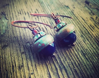 Copper And Glass Earrings