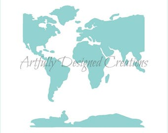 World Map Stencil Etsy - Traceable world map