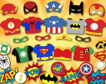 Printable Superhero Photo Booth Props, Super Hero Digital Photobooth Props, Superhero Party Printable, Superhero Mask Printable, 0374