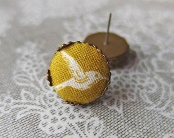 Mustard Yellow earrings, Bird earrings, Alternative Jewelry, Funny Earrings, Cute Post Earrings, Gift for Woman, Lightweight Earrings