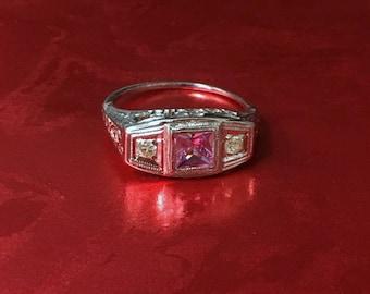 ONE VIntage 14k White Gold Pink Sapphire & Diamond Ring
