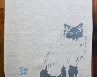 Linen Tea Towel Seal Mitted Ragdoll Kitten Mia. Hand Printed Stencil. Oatmeal 1.