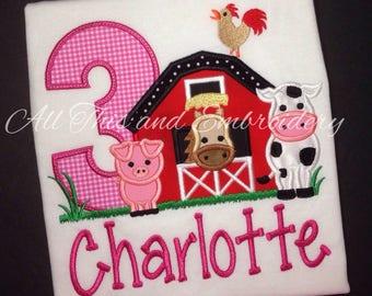 Barnyard Birthday, Birthday Shirt,  Girl Birthday Shirt, First Birthday Shirt, Barn Birthday, Barn Birthday Shirt, Farm Birthday Shirt