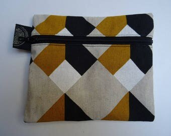 Pocket patterned geometric mustard yellow, white and black