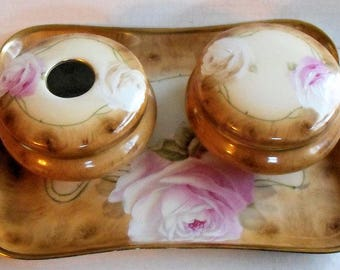 Beautiful Antique Bavaria Dresser Boxes & Tray Set Rose Pattern With Gold Trim